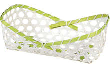 Corbeille bambou rectangle - liseré vert : Cestini
