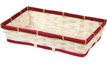 Corbeille bambou rectangle - liseré rouge : Cestini