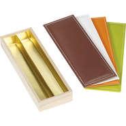 Coffret bois 2 rangées + couvercle simili cuir : Scatole