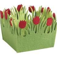 Mini corbeille carrée en feutrine tulipe  : Speciale feste