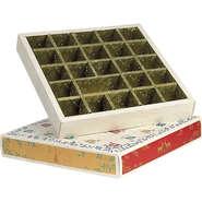 Calendrier de l'Avent carré  effet bois /rouge/vert/or 24 cases : Scatole