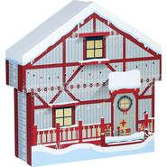Coffret carton forme chalet rouge/blanc/  décor Bonnes fêtes : Speciale feste