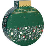Coffret carton forme boule vert/blanc/rouge/  décor Bonnes fêtes : Speciale feste
