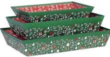 Corbeille carton rectangle  décor Bonnes fêtes : Speciale feste