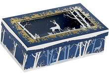 Coffret carton rectangle fenêtre couvercle  PET décor Forêt/Renne : Scatole