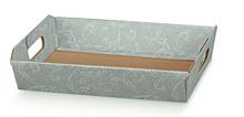 Contenitore in cartone grigio motivi damascati 310x220x90mm : Cestini