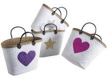 Lotto di 4 sacchi in giunco laccato con paillettes : Borse